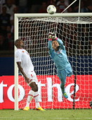 Guillermo Ochoa goalkeeper of AC Ajaccio in action during the Ligue 1 match between Paris Saint Germain FC and AC Ajaccio at the Parc des Princes...