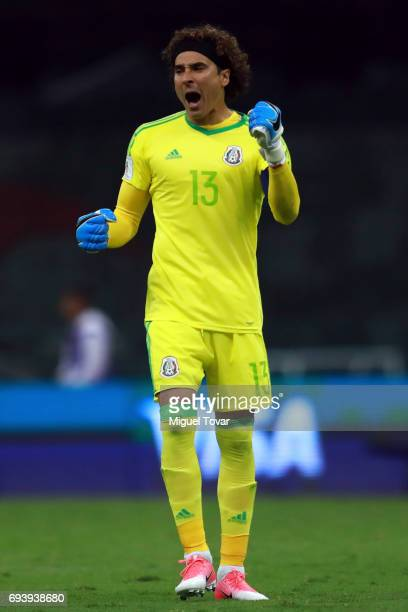 Guillermo Ochoa goalkeeper of Mexico celebrates after his team scored during the match between Mexico and Honduras as part of the FIFA 2018 World Cup...