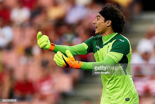 Guillermo Ochoa of Granada FC reacts during a friendly match between Granada FC and Sevilla FC at Estadio Nuevo los Carmenes on August 2 2016 in...