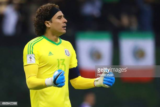 Guillermo Ochoa of Mexico celebrates the second goal of his team scored by his teammate Hirving Lozano during the match between Mexico and Honduras...