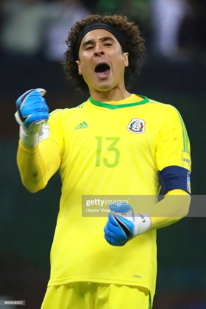 Guillermo Ochoa of Mexico celebrates the third goal of his team scored by his teammate Raul Jimenez (Not in Frame) during the match between Mexico and Honduras as part of the FIFA 2018 World Cup Qualifiers at Azteca Stadium on June 08, 2017 in Mexico City, Mexico.