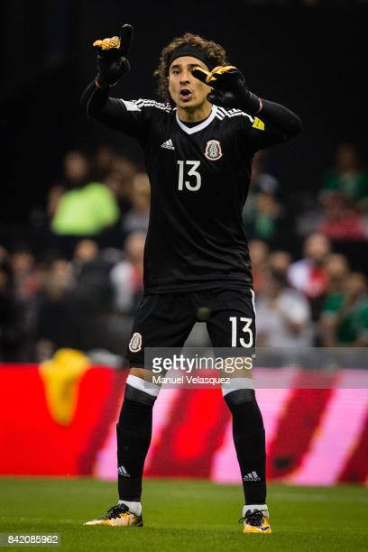 Guillermo Ochoa of Mexico gestures during the match between Mexico and Panama as part of the FIFA 2018 World Cup Qualifiers at Estadio Azteca on...