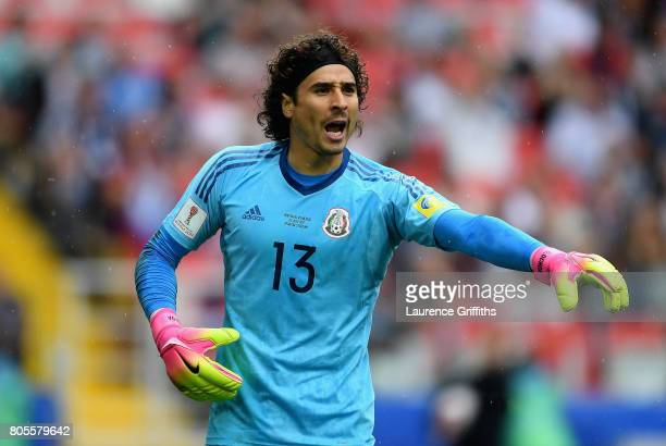 Guillermo Ochoa of Mexico gives his team instructions during the FIFA Confederations Cup Russia 2017 PlayOff for Third Place between Portugal and...