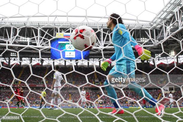Guillermo Ochoa of Mexico reacts to Pepe of Portugal scoirng his sides first goal past him during the FIFA Confederations Cup Russia 2017 PlayOff for...
