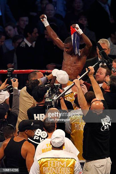 Guillermo Rigondeaux celebrates after he defeated Ricardo Cordoba of Panama during their WBA Interim World Junior Featherweight Title bout at Cowboys...