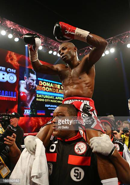 Guillermo Rigondeaux celebrates his unanimous decision win against Nonito Donaire after their WBO/WBA junior featherweight title unification bout at...