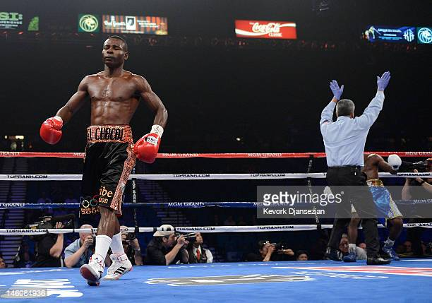 Guillermo Rigondeaux reacts after knocking out Teon Kennedy during their WBA super bantamweight title fight at MGM Grand Garden Arena on June 9 2012...