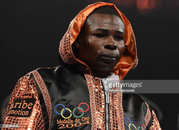 Guillermo Rigondeaux stands in the ring before his WBA super bantamweight title defense against Teon Kennedy at MGM Grand Garden Arena on June 9 2012...