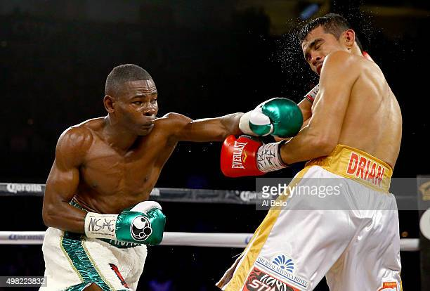 Guillermo Rigondeaux throws a left at Drian Francisco during their junior featherweight bout at the Mandalay Bay Events Center on November 21 2015 in...