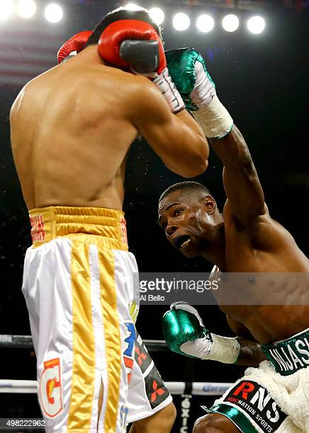 Guillermo Rigondeaux throws a left to the face of Drian Francisco during their junior featherweight bout at the Mandalay Bay Events Center on...