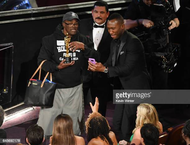 Guillermo Rodriguez and actor Mahershala Ali surprises tourists with an entrance to the 89th Annual Academy Awards at Hollywood Highland Center on...