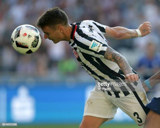 Guillermo Varela of Frankfurt controls the ball during the Bundesliga match between Eintracht Frankfurt and FC Schalke 04 at CommerzbankArena on...