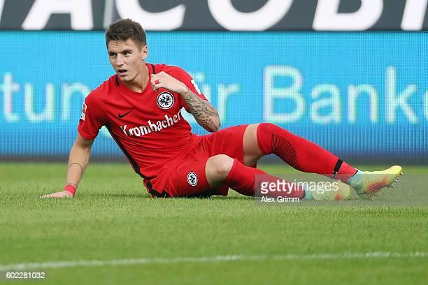 Guillermo Varela of Frankfurt reacts during the Bundesliga match between SV Darmstadt 98 and Eintracht Frankfurt at JonathanHeimesStadion am...