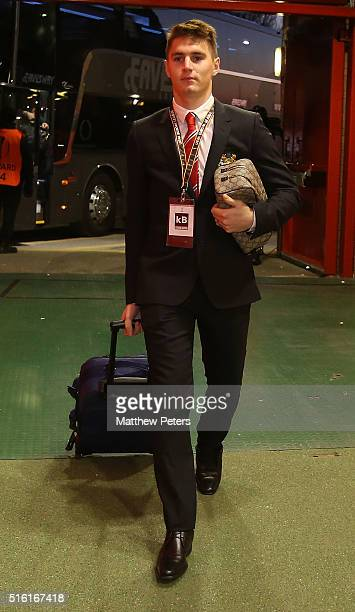 Guillermo Varela of Manchester United arrives ahead of the UEFA Europa League Round of 16 Second Leg match between Manchester United and Liverpool at...