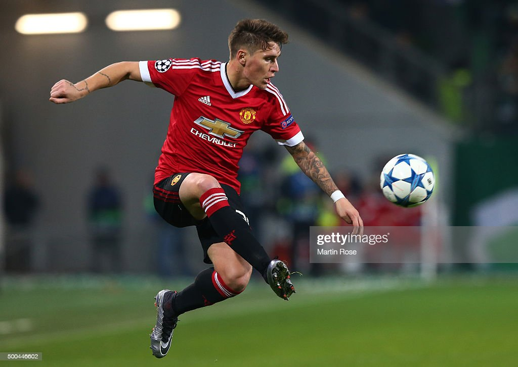 <a gi-track='captionPersonalityLinkClicked' href=/galleries/search?phrase=Guillermo+Varela&family=editorial&specificpeople=10113482 ng-click='$event.stopPropagation()'>Guillermo Varela</a> of Manchester United controls the ball during the UEFA Champions League group B match between VfL Wolfsburg and Manchester United at the Volkswagen Arena on December 8, 2015 in Wolfsburg, Germany.