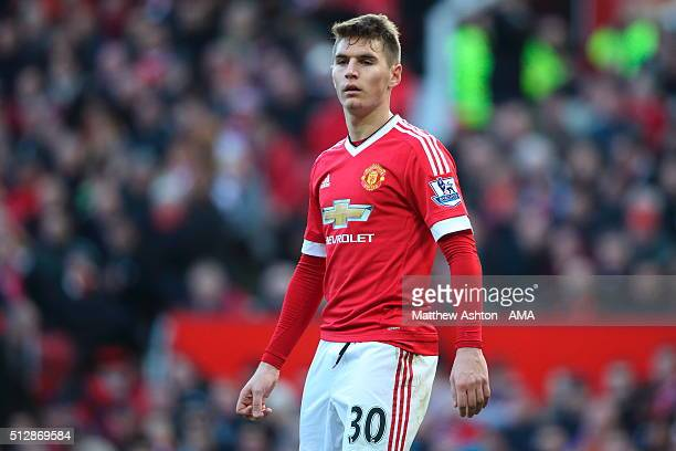 Guillermo Varela of Manchester United during the Barclays Premier League match between Manchester United and Arsenal at Old Trafford on February 28...