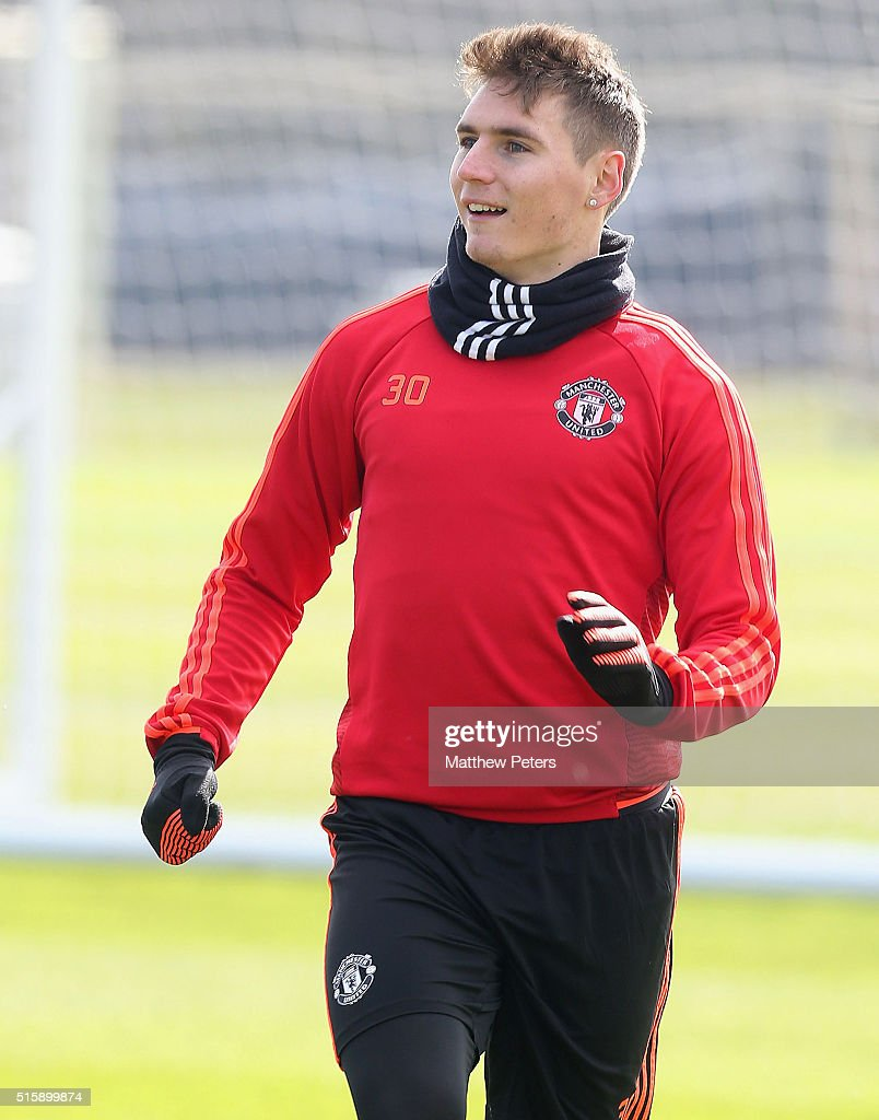 <a gi-track='captionPersonalityLinkClicked' href=/galleries/search?phrase=Guillermo+Varela&family=editorial&specificpeople=10113482 ng-click='$event.stopPropagation()'>Guillermo Varela</a> of Manchester United in action during a first team training session, ahead of their UEFA Europa League Round of 16 Second Leg match against Liverpool, at Aon Training Complex on March 16, 2016 in Manchester, England.