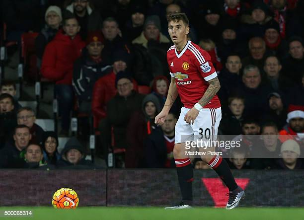 Guillermo Varela of Manchester United in action during the Barclays Premier League match between Manchester United and West Ham United at Old...