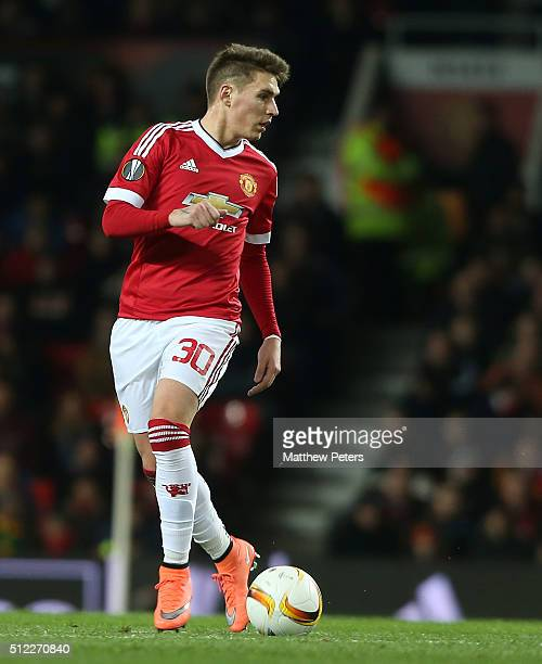 Guillermo Varela of Manchester United in action during the UEFA Europa League match between Manchester United and FC Midtjylland at Old Trafford on...