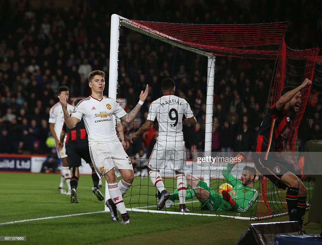 <a gi-track='captionPersonalityLinkClicked' href=/galleries/search?phrase=Guillermo+Varela&family=editorial&specificpeople=10113482 ng-click='$event.stopPropagation()'>Guillermo Varela</a> of Manchester United reacts after Bournemouth's first goal during the Barclays Premier League match between A.F.C. Bournemouth and Manchester United at Vitality Stadium on December 12, 2015 in Bournemouth, United Kingdom.