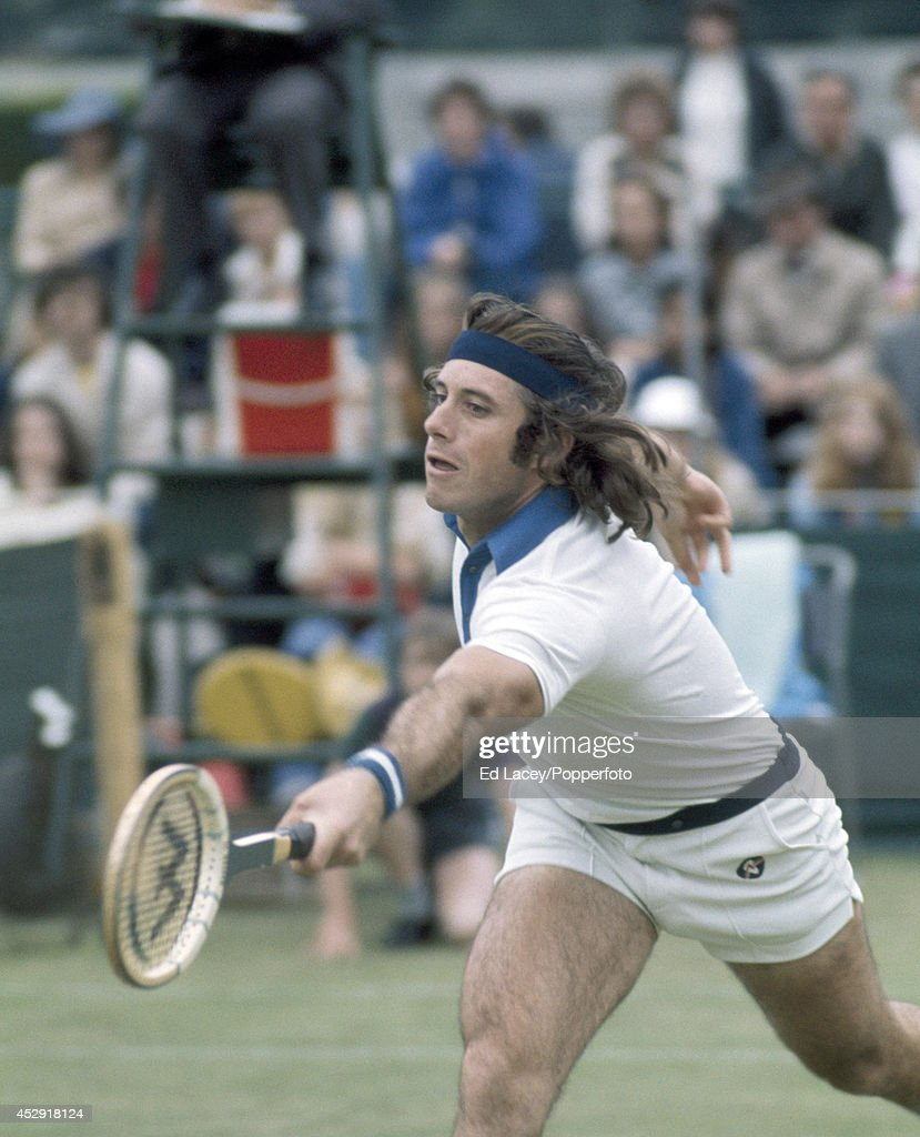 <a gi-track='captionPersonalityLinkClicked' href=/galleries/search?phrase=Guillermo+Vilas&family=editorial&specificpeople=605489 ng-click='$event.stopPropagation()'>Guillermo Vilas</a> of Argentina in action at Wimbledon on 23rd June 1975. Vilas, seeded fourth, was defeated in the Quarter-finals by Roscoe Tanner of the United States.