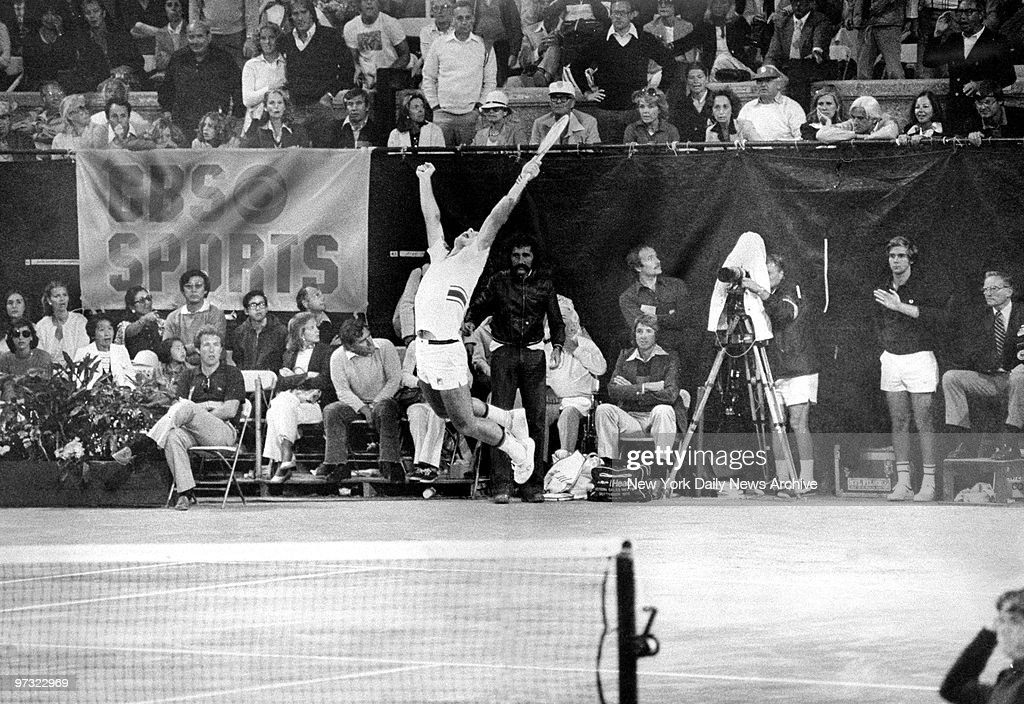 Guillermo Villas jumps for joy following his victory over Jimmy Connors during 1977 U.S. Open finals at the West Side Tennis Club.