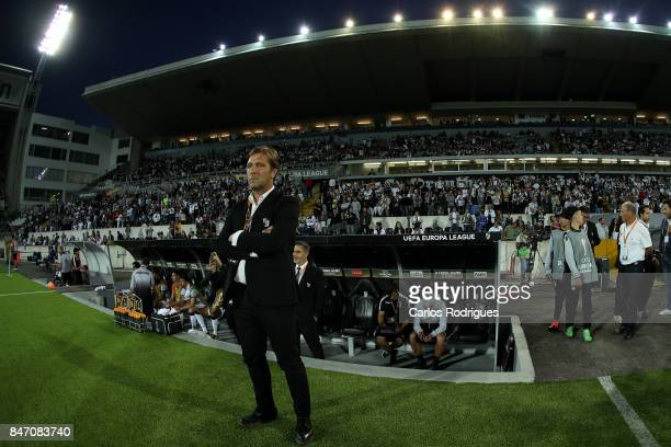 Guimaraes coach Pedro Martins from Portugal during the match between Vitoria Guimaraes and RB Salzburg for UEFA Europa League at Estadio da Dom...
