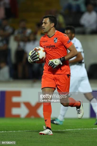 Guimaraes goalkeeper Douglas Jesus from Brazil during the match between Vitoria Guimaraes and RB Salzburg for UEFA Europa League at Estadio da Dom...