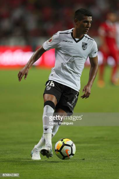 Guimaraes's forward Paolo Hurtado from Peru during the match between SL Benfica and VSC Guimaraes at Estadio Municipal de Aveiro on August 05 2017 in...