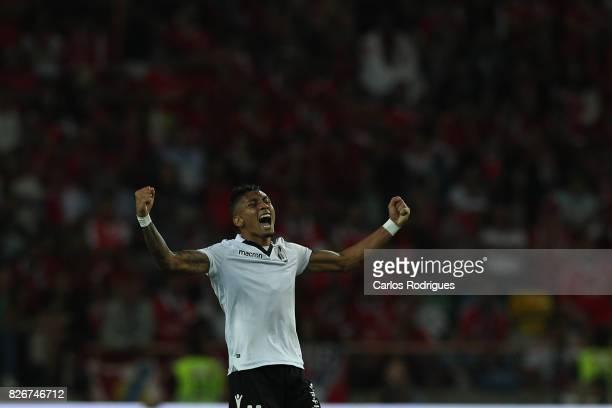 Guimaraes's forward Raphinha from Brasil celebrates scoring Vitoria Guimaraes goal during the match between SL Benfica and VSC Guimaraes at Estadio...