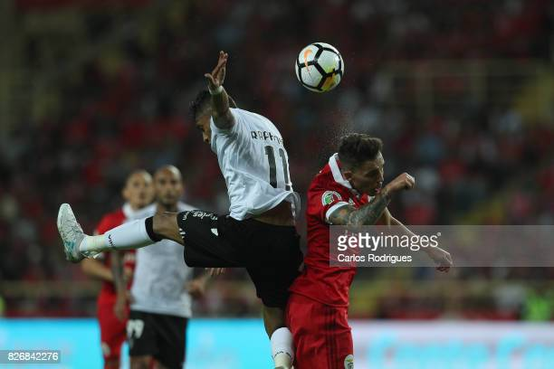 Guimaraes's forward Raphinha from Brasil vies with Benfica's defender Alejandro Grimaldo from Spain during the match between SL Benfica and VSC...