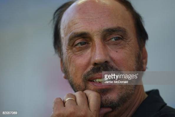 Guimareas manager Manuel Cajuda looks on during the Algarve Challenge Cup match against Middlesbrough at the Estadio Algarve on July 24 2008 in Faro...