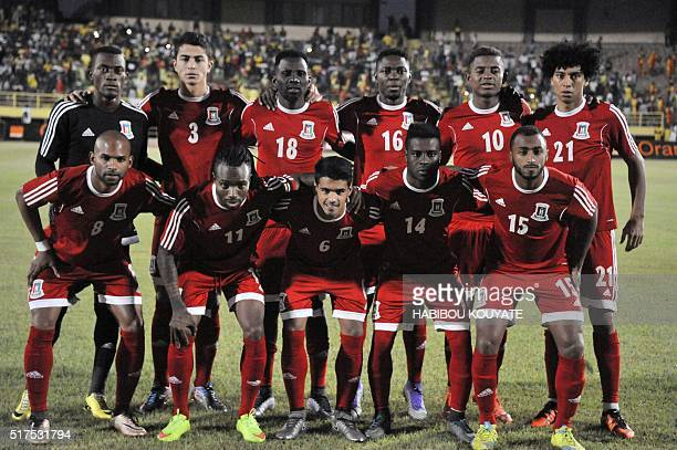 Guinea Equatorial's football player pose prior during the 2017 African Cup of Nations qualification football match between Mali and Guinea Equatorial...