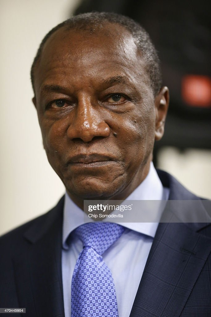 Guinea President Alpha Conde participates in a news conference about the ongoing fight against the Ebola outbreak in West Africa during the World Bank-International Monetary Fund Spring Meetings April 17, 2015 in Washington, DC. The World Bank announced Friday that it would provide an additional US$650 million over the next year to help Guinea, Liberia and Sierra Leone to recover from the social, economic and health impact of the Ebola crisis.