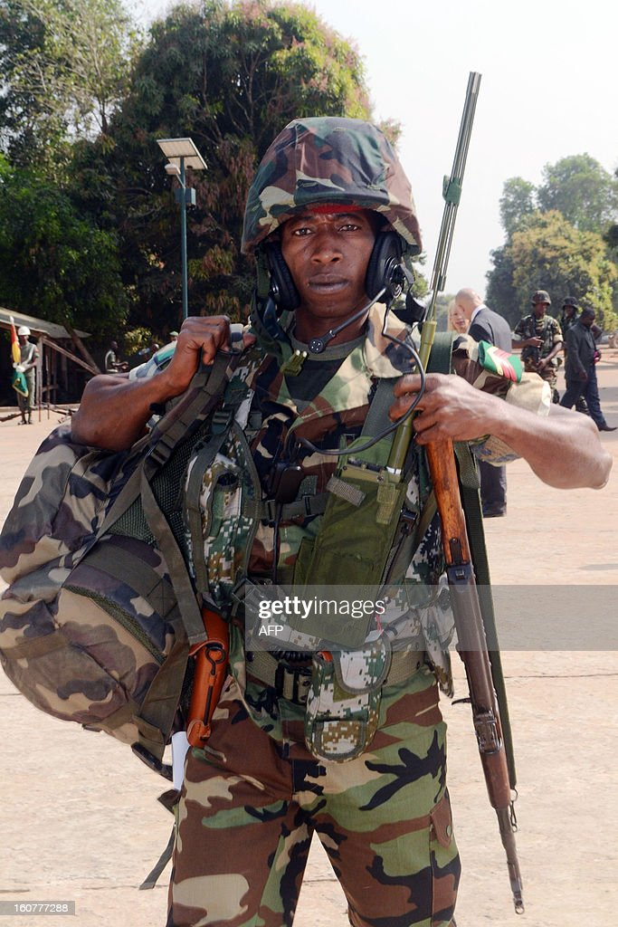 Guinea troops prepare on February 5, 2013 before their departure for Mali at the military base at Kindia.