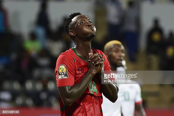 TOPSHOT GuineaBissau's defender Juary Soares reacts after missing a goal opportunity during the 2017 Africa Cup of Nations group A football match...