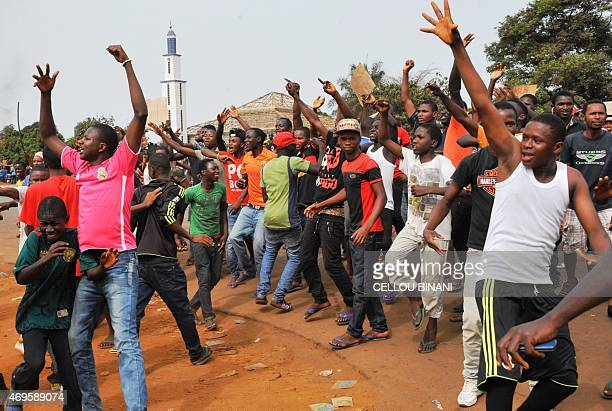 Guinean opposition supporters protest on April 13 2015 in Conakry Several protesters were wounded on April 13 as Guinean police opened fire during...