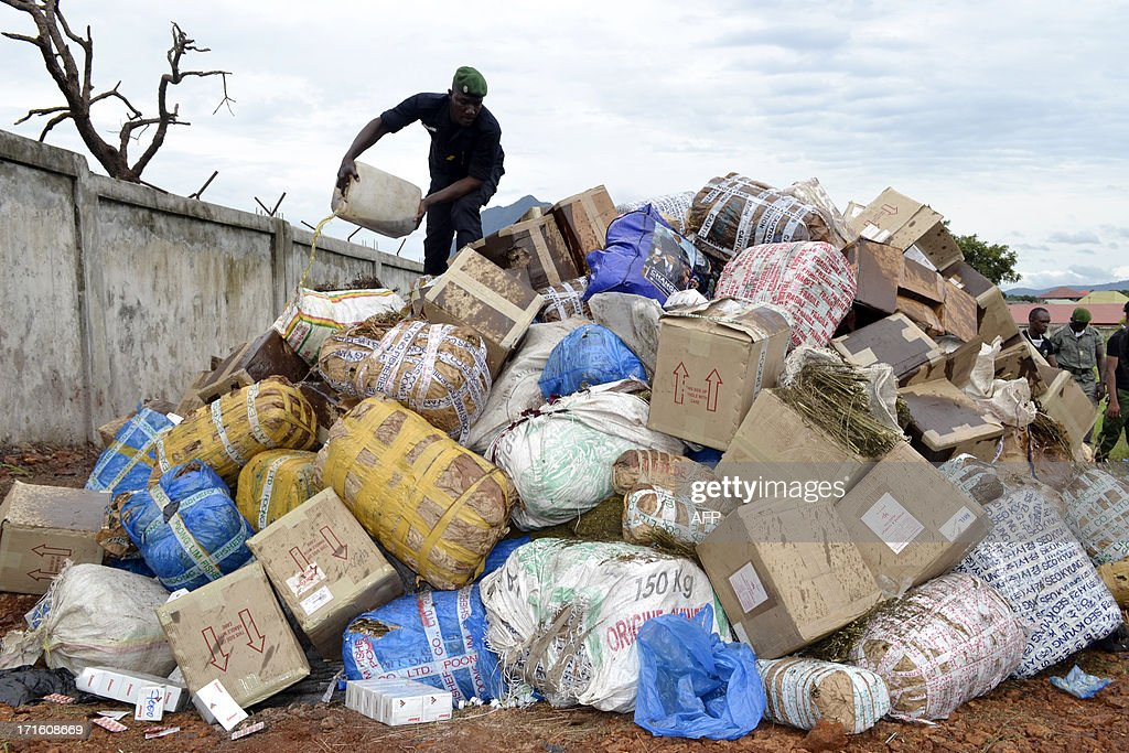 A Guinean policeman pours gasoline on June 26, 2013 on 4 tons of marijuana and various other drugs, to be burnt in Conakry during celebrations marking the International Day Against Drug Abuse and Illicit Trafficking.