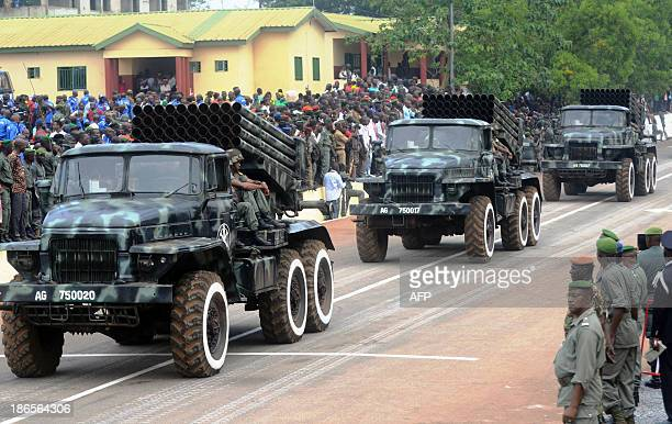 Guinean soldiers parade during celebrations marking the 55th anniversary of the establishment of the army in Conakry on November 1 2013 AFP PHOTO /...