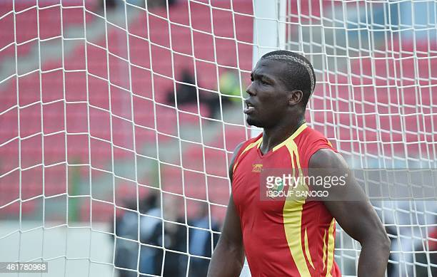 Guinea's defender Florentin Pogba takes part in a training session at Malabo stadium on the eve of the team's first match as part of the 2015 African...