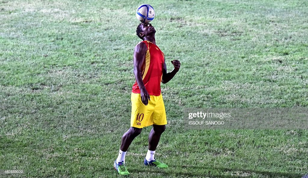 Guinea's midfielder <a gi-track='captionPersonalityLinkClicked' href=/galleries/search?phrase=Kevin+Constant&family=editorial&specificpeople=3033289 ng-click='$event.stopPropagation()'>Kevin Constant</a> takes part a training session in Malabo on January 30, 2015 ahead of the Africa Cup of Nations quarter-finals football match between Ghana and Guinea on February 1.