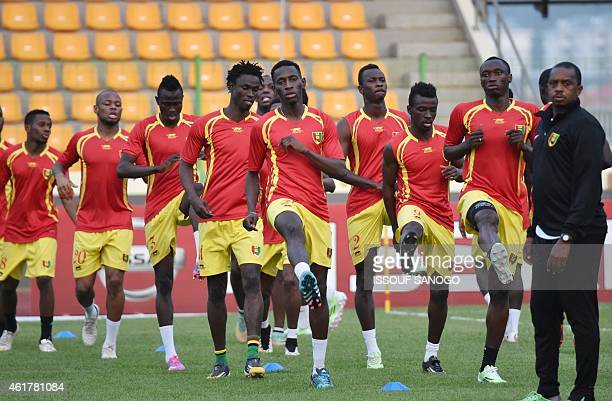 Guinea's players take part in a training session at Malabo stadium on the eve of the team's first match as part of the 2015 African Cup of Nations...