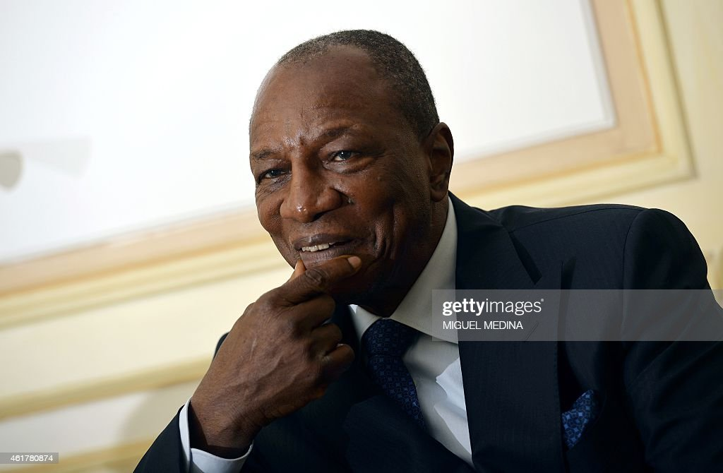 Guinea's president <a gi-track='captionPersonalityLinkClicked' href=/galleries/search?phrase=Alpha+Conde&family=editorial&specificpeople=2588606 ng-click='$event.stopPropagation()'>Alpha Conde</a> gives an interview to AFP during a visit in Paris on January 19, 2015.