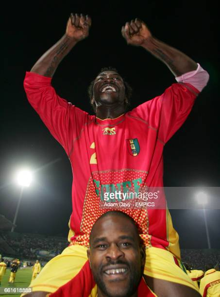 Guinea's two goal hero Adubelo Phiri celebrates at the end of the game