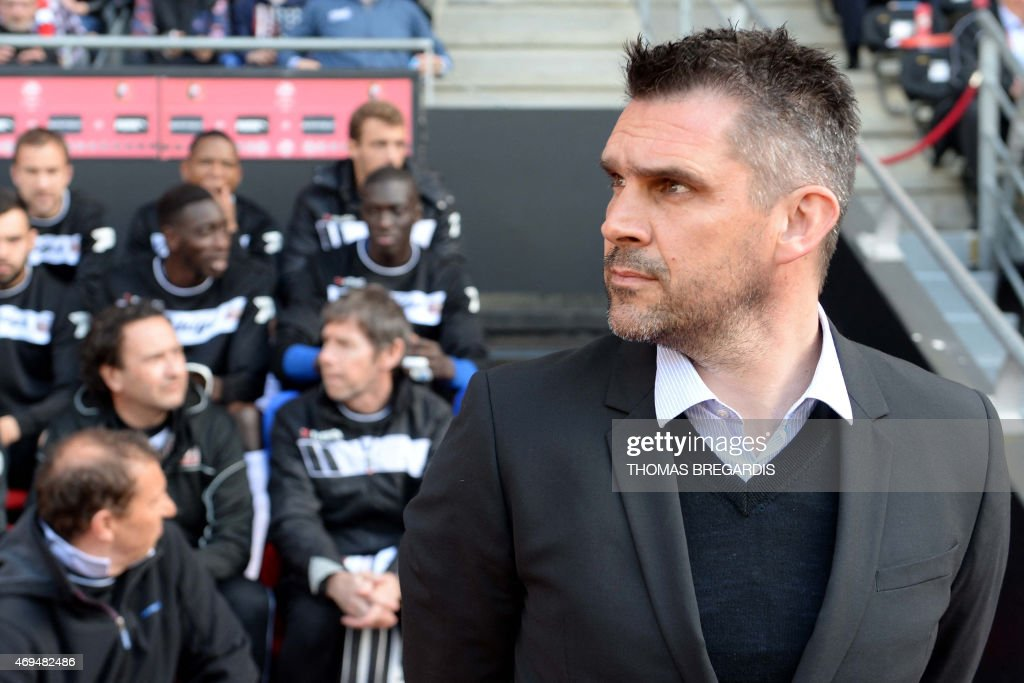 Guingamp' French head coach Jocelyn Gourvennec looks on before the French L1 football match between Rennes and Guingamp on April 12, 2015 at the route de Lorient stadium in Rennes, western France.