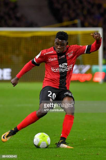 Guingamp's Cameroonian defender Felix Eboa Eboa controls the ball during the French L1 football match Nantes vs Guingamps at the La Beaujoire stadium...