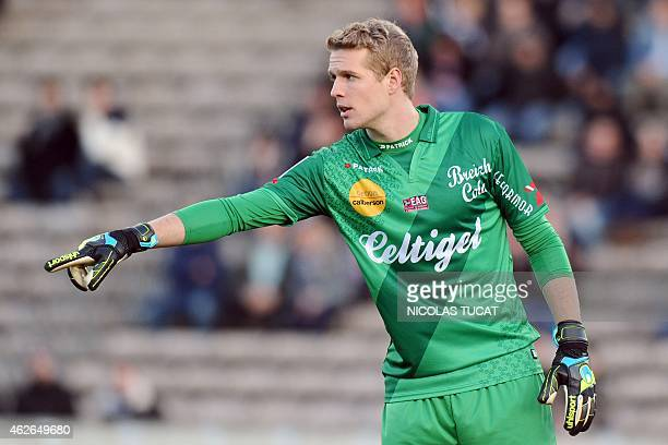 Guingamp's Danish goalkeeper Jonas Lossl gestures during the French L1 football match Bordeaux vs Guingamp on February 1 2015 at the ChabanDelmas...