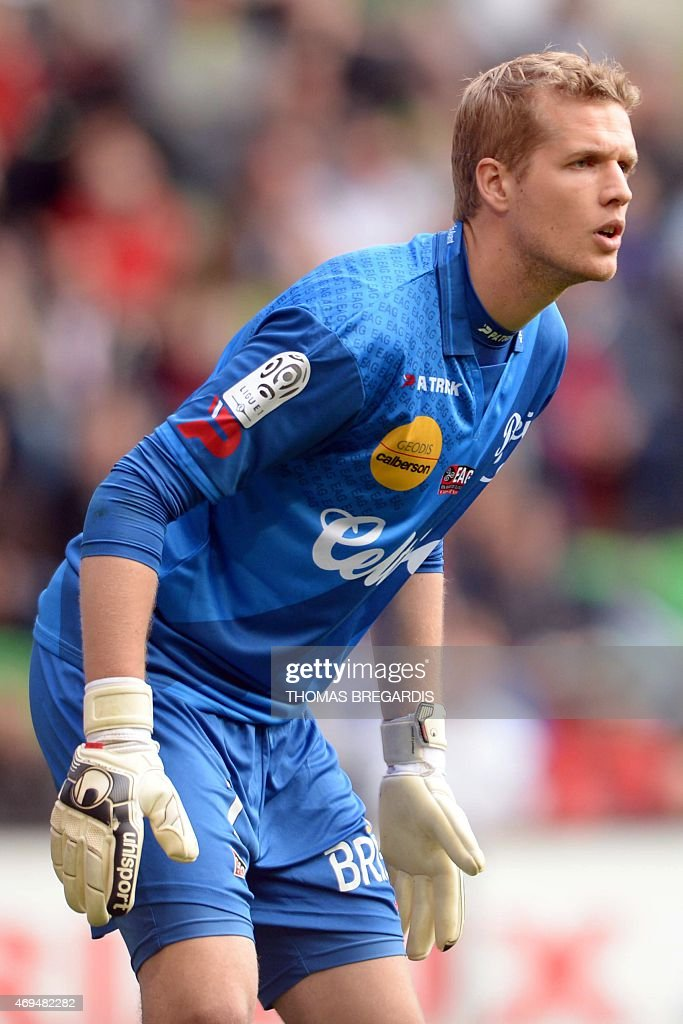 Guingamp's Danish goalkeeper Jonas Lossl looks on during the French L1 football match between Rennes and Guingamp on April 12, 2015 at the route de Lorient stadium in Rennes, western France.