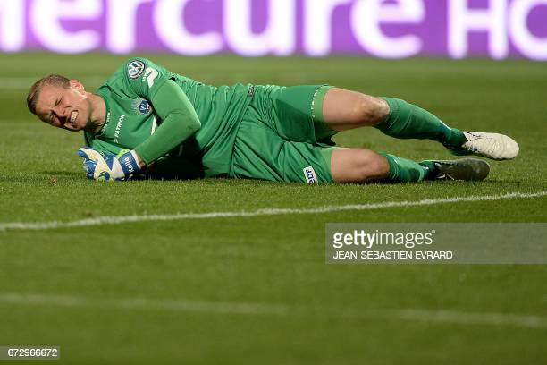 Guingamp's Danish goalkeeper KarlJohan Johnsson reacts during the French Cup semifinal football match between Angers and Guingamp on April 25 2017 at...