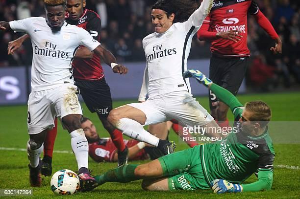 Guingamp's Danish goalkeeper KarlJohan Johnsson vies with Paris SaintGermain's Ivorian defender Serge Aurier and Paris SaintGermain's Uruguayan...